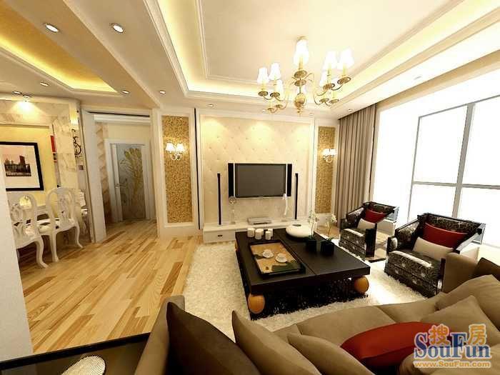现代简约-90.16平米三居室-装修样板间