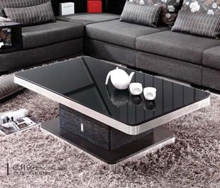 现代简约黑色钢化玻璃不锈钢方形客厅茶几 带储物柜 CJ192