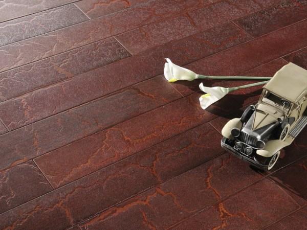 安信实木复合复古地板 橡木 仿鳄鱼纹