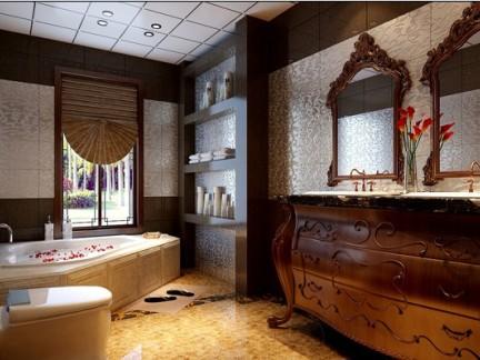 中式古典别墅卫生间浴室柜装修效果图大全2014图片,图片尺寸:640×