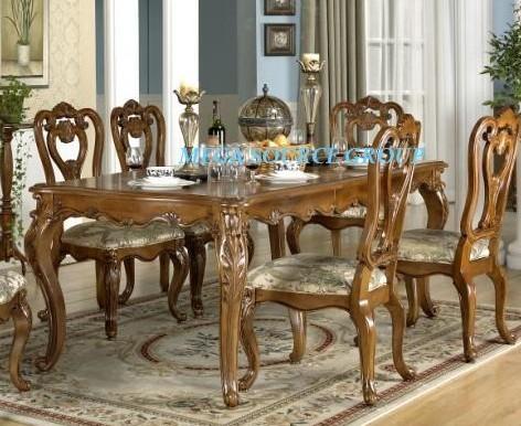 美式实木高档可伸缩餐桌餐椅组合|餐桌椅#2F特价 别墅家具