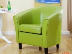 百美家居 百伽 美式皮质沙发 单人位沙发圈椅 围椅