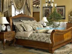 高档美式实木雪橇床|实木双人床|皮床#25 特价 米高家具