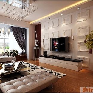 欧美风情二居室装修效果图