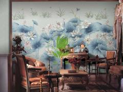 玉兰墙纸 鸟语花香 中式中国风客厅书房
