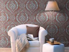 玉兰墙纸 布尔乔亚立体植绒布 欧式简约背景墙卧室书房壁纸