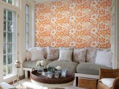 玉兰墙纸 布尔乔亚 欧式简约绒面背景墙卧室壁纸