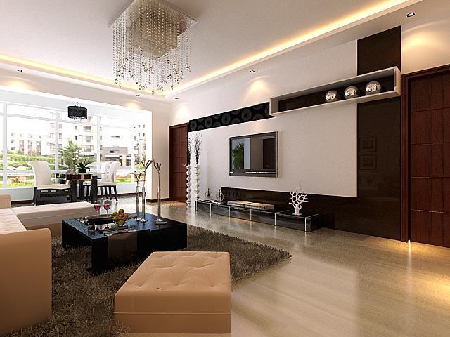 图   现代简约客厅装修效果图 现代简约三居室客厅装修效果高清图片