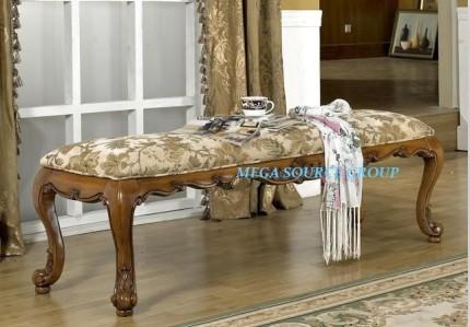 别墅家具 美式浅樱桃色床尾凳|实木长凳子 米高家具 外单特价