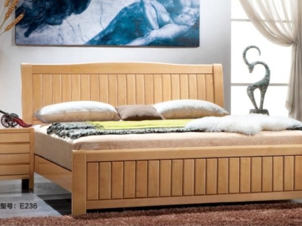 联乐实木床E236 榉木双人床