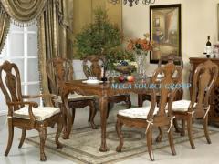 美式实木餐桌餐椅组合|餐桌椅配套#2H特价 别墅家具米高家具