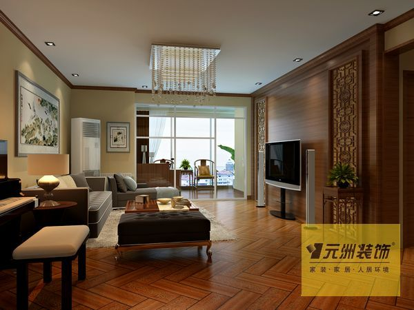 中式风格.木质顶角线和电视背景墙中式元素多些,其他位置简高清图片