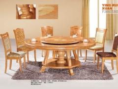 宜百伴-YRX-A21春茶色转动实木圆桌-工厂直供批发代理