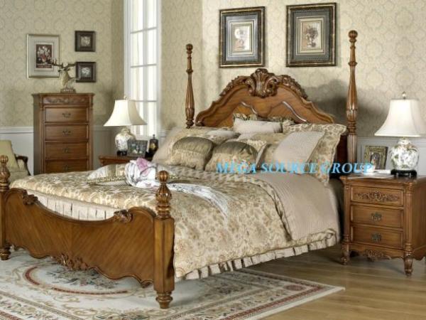 美式柱式床|实木双人床|卧房组合#21 别墅家具 外单特价