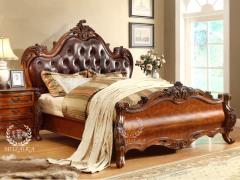 美莱咖 美式家具 卧室实木双人床 1.8米床 欧式真皮床