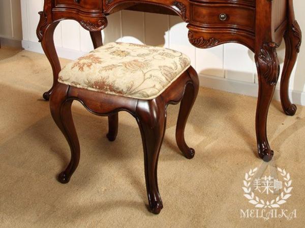 美莱咖实木梳妆凳 美式妆凳 小书凳 欧式梳妆台凳