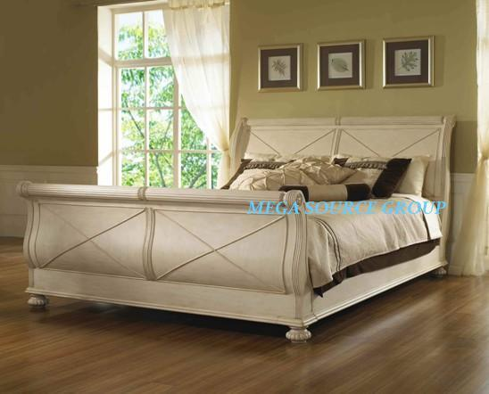 实木双人床|雪橇床 特价 别墅家具 地中海风格 米高家具