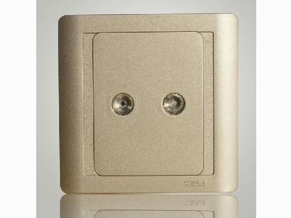 西蒙正品55系列香槟色二位电视插座N55119-56