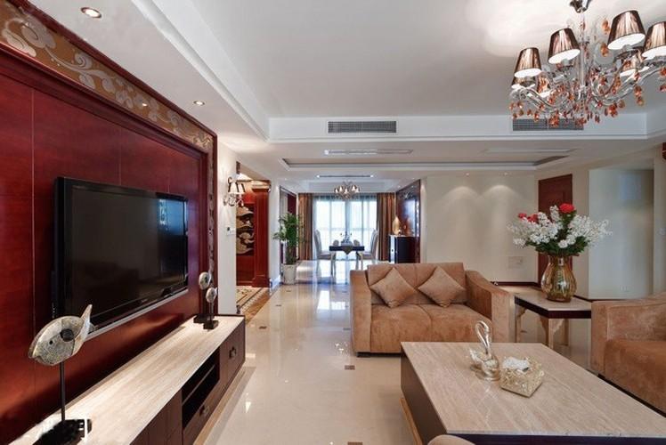 装修效果图   客厅屏风隔断   简欧风格90平米三居室装修效高清图片