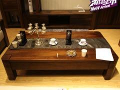 北欧篱笆 纯北美黑胡桃木家具 实木长茶几 现代简约风格
