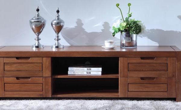 北欧篱笆纯实木电视柜榆木电视柜带抽屉实木家具