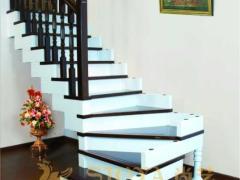 尚艺全实木定制家装 阿卡沙L型个性积木楼梯 美欧式实木楼梯/
