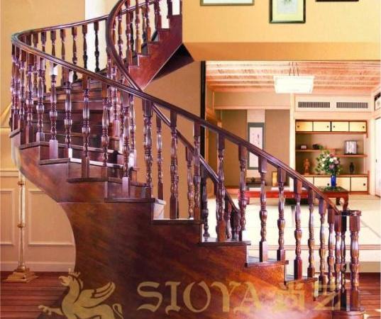广东品牌楼梯厂家直销 双底梁无水泥基础弧形扇形旋转实木楼梯