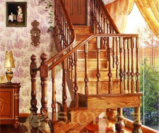 尚艺名梯塞维利亚实木整梯 直角型美国枫木定制楼梯