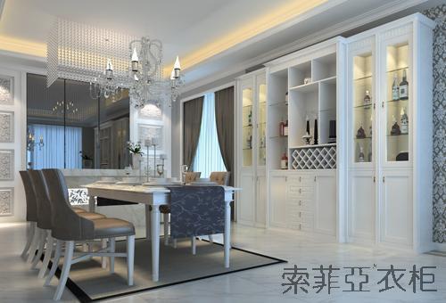 索菲亚衣柜H款酒柜 白色简欧风格定制酒柜