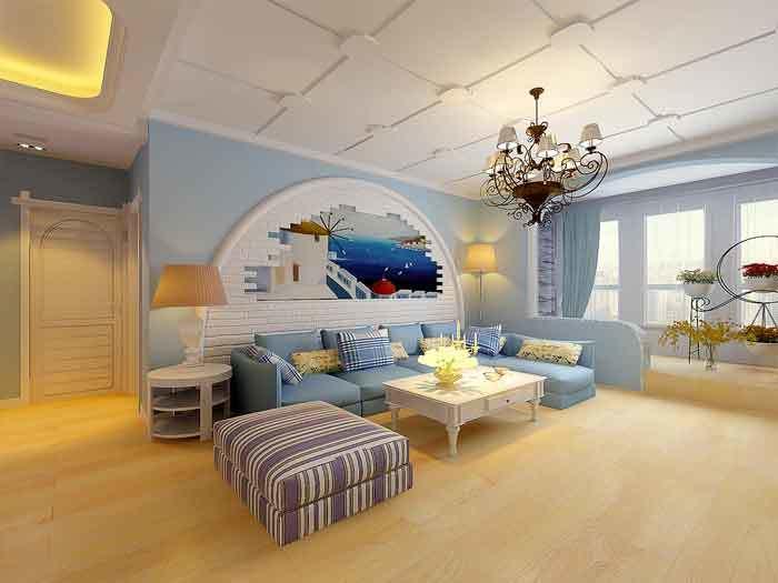 地中海-80平米三居室-装修样板间