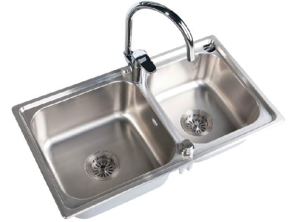 鹰卫浴厨房水槽一体成型高级不锈钢双槽洗菜盆KS-3011.2