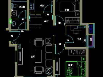 欧美风情-89.98平米三居室装修样板间