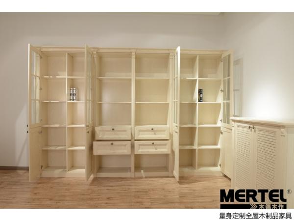 木德木作样柜简欧系列PP覆膜整体书柜 量身定做书房家具