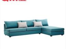 现代简约 曲美家具转角沙发 现代布艺沙发图片