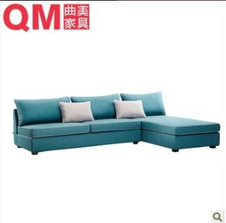 现代简约 曲美家具转角沙发 现代布艺沙发