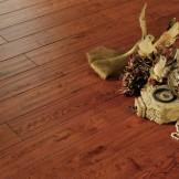 安信地板 纯实木 栎木手刮艺术复古地板 亚花梨色