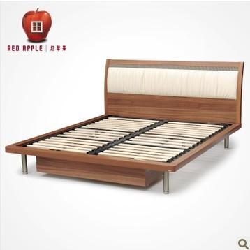 红苹果软靠1.5米1.8米板式双人排骨架储物床 R802-B