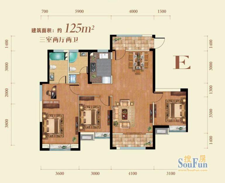 星河荣御-三居室-125平米-户型图装修效果图高清图片