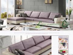 林氏木业皮配布组合 时尚现代客厅转角L型皮沙发WQ5805