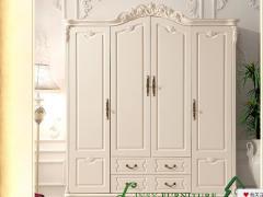 林氏木业仿古白色欧式整体衣橱家具KD620