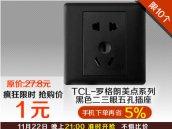 TCL-罗格朗美点系列黑色二三眼五孔插座