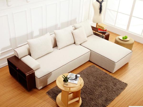 曲美家具 现代简约沙发组合沙发客厅 实木 转角布艺沙发S12