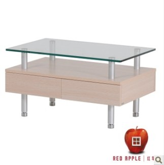 红苹果时尚客厅玻璃长方形角边创意茶几R186-32