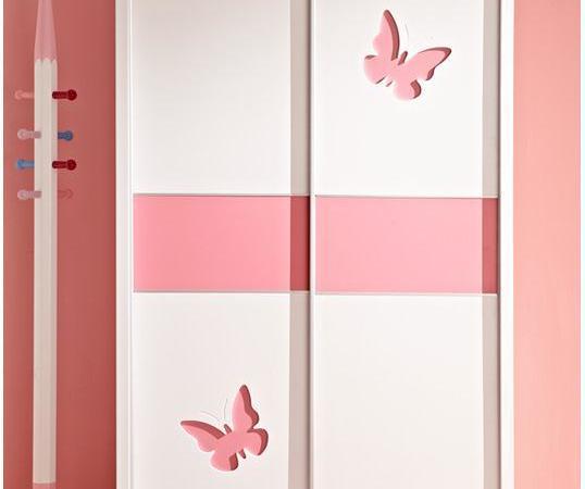 林氏木业 女孩儿童推拉门衣橱 公主卧室板式趟门衣柜320