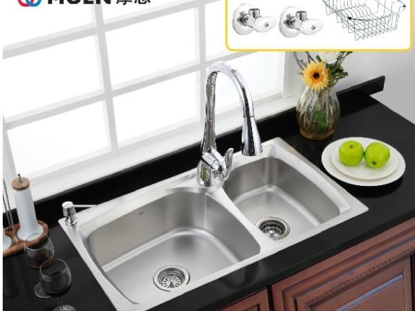 摩恩 高端不锈钢双槽水槽套装 铎致27120