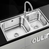 欧琳 不锈钢加厚双槽厨房洗菜盆OLWG8212A
