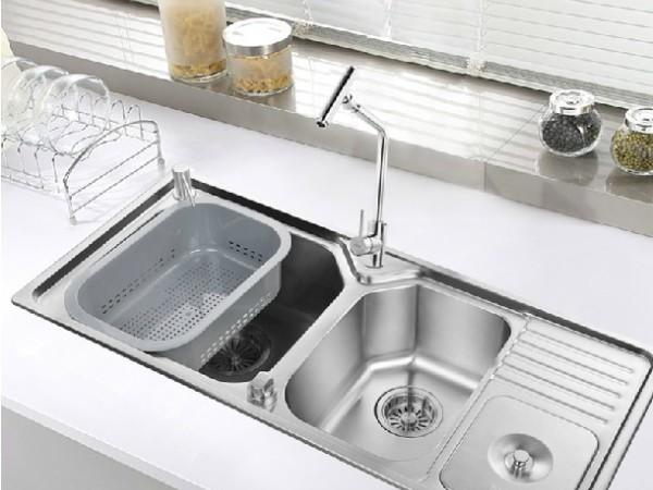 普乐美 不锈钢超大三槽套装厨房洗菜盆HG1012