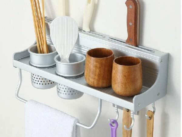 登勒卫浴 多功能厨房置物架带挂杆挂钩W4042