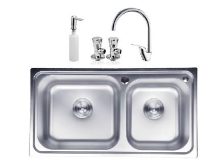 九牧卫浴 不锈钢水槽双槽套餐06056