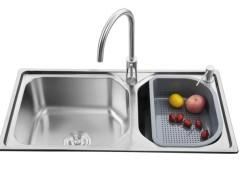 普乐美 304不锈钢水槽双槽套装JS207